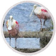 Spoonbills Hanging Out Round Beach Towel