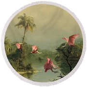 Spoonbills In The Mist Round Beach Towel