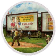 Sport - Baseball - America's Past Time 1943 Round Beach Towel by Mike Savad