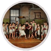 Round Beach Towel featuring the photograph Sport - Boxing - Fists Of Fury 1924 by Mike Savad