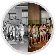 Round Beach Towel featuring the photograph Sport - Boxing - Fists Of Fury 1924 - Side By Side by Mike Savad
