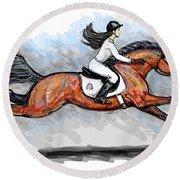 Sport Horse Rider Round Beach Towel