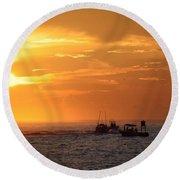 Sportfishermen Head Offshore Round Beach Towel