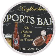 Sports Bar Round Beach Towel by Debbie DeWitt