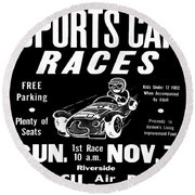 Sports Car Races In Black Round Beach Towel