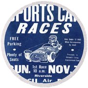 Sports Car Races In Blue Round Beach Towel