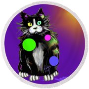 Round Beach Towel featuring the painting Spot Dizzycat by DC Langer