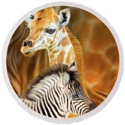 Round Beach Towel featuring the mixed media Spots And Stripes - Giraffe And Zebra by Carol Cavalaris