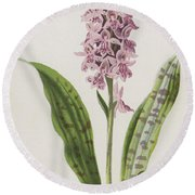 Spotted Orchis Round Beach Towel