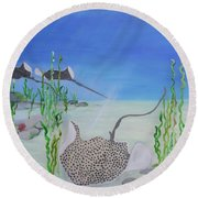 Spotted Ray Round Beach Towel