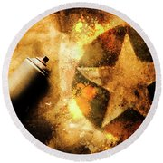 Spray Can With Army Star Graffiti Round Beach Towel