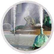 Round Beach Towel featuring the photograph Spraying Water At Swann Fountain - Philadelphia by Bill Cannon