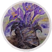 Spring In Van Gogh Shoes Round Beach Towel by AmaS Art