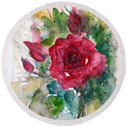 Round Beach Towel featuring the painting Spring For You by Jasna Dragun