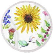 Spring 2017 Medley Watercolor Art By Kmcelwaine Round Beach Towel by Kathleen McElwaine
