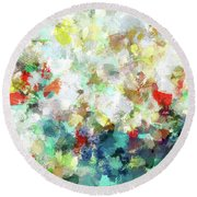Round Beach Towel featuring the painting Spring Abstract Art / Vivid Colors by Ayse Deniz