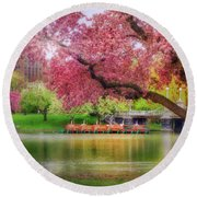Round Beach Towel featuring the photograph Spring Afternoon In The Boston Public Garden - Boston Swan Boats by Joann Vitali