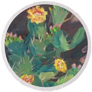 Round Beach Towel featuring the painting Spring And Prickly Burst Cactus by Diane McClary