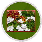 Spring Annuals Round Beach Towel