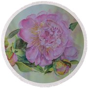 Round Beach Towel featuring the painting Spring Around The Corner by Beatrice Cloake