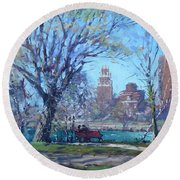 Spring At Goat Island Round Beach Towel