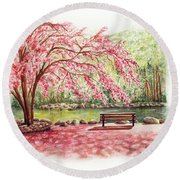 Spring At Lithia Park Round Beach Towel