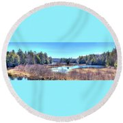 Round Beach Towel featuring the photograph Spring Scene At The Tobie Trail Bridge by David Patterson