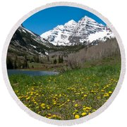 Spring At The Maroon Bells Round Beach Towel