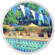 Spring At The Pool Round Beach Towel