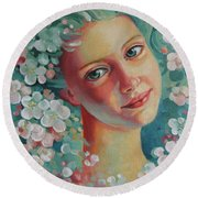 Round Beach Towel featuring the painting Spring B by Elena Oleniuc