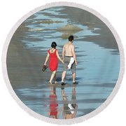 Spring Beach Walk  Round Beach Towel