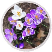 Spring Beauties Round Beach Towel