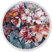 Round Beach Towel featuring the painting Spring Beauty by Kovacs Anna Brigitta
