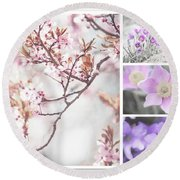 Round Beach Towel featuring the photograph Spring Bloom Collage 1. Shabby Chic Collection by Jenny Rainbow