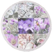 Round Beach Towel featuring the photograph Spring Bloom Collage. Shabby Chic Collection by Jenny Rainbow