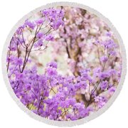Round Beach Towel featuring the photograph Spring Bloom Of Rhododendron  by Jenny Rainbow