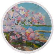 Spring Blooms By Sea Round Beach Towel