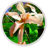 Round Beach Towel featuring the photograph Spring Blossom Open Wide by Jeff Swan