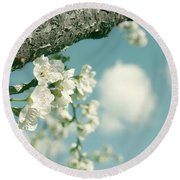 Spring Blossoms And Puffy Clouds Round Beach Towel