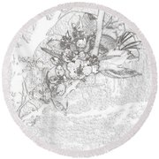 Spring Blossums Round Beach Towel