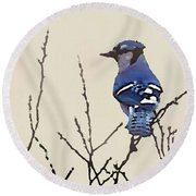Spring Bluejay Round Beach Towel