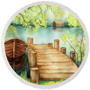 Spring Boat Round Beach Towel