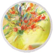Spring Bouquet Round Beach Towel by Frances Marino