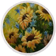 Sunflowers Galore Round Beach Towel