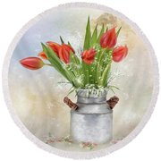Spring Bouquet Of Tulips Round Beach Towel