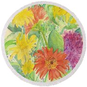 Round Beach Towel featuring the painting Spring Bouquet  by Vicki  Housel