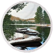 Round Beach Towel featuring the painting Spring Breakup by Kenneth M Kirsch