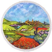 Round Beach Towel featuring the painting Spring Breeze by Rae Chichilnitsky