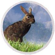 Round Beach Towel featuring the digital art Spring Bunny by Daniel Eskridge