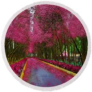 Spring Cherry Blossoms Round Beach Towel by Saundra Myles